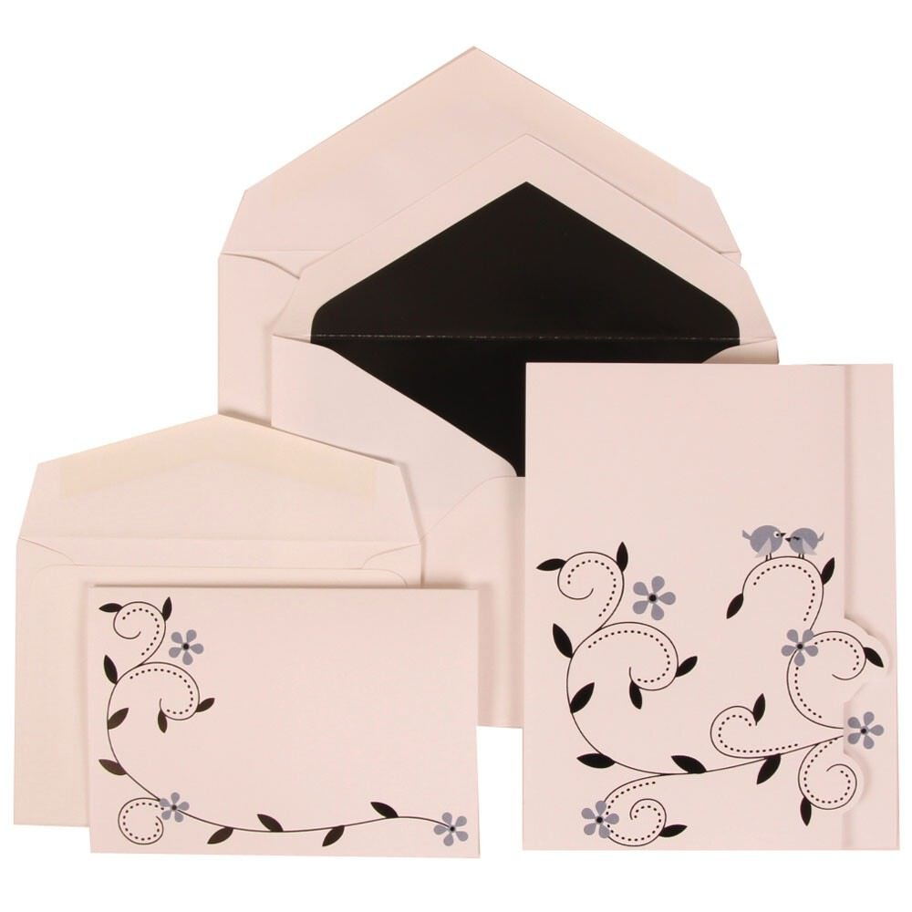 JAM Paper Wedding Invitation Combo Sets - 1 Small & 1 Large - Grey Accent Card with Black Lined Envelope and Colorful Birds - 150/pack