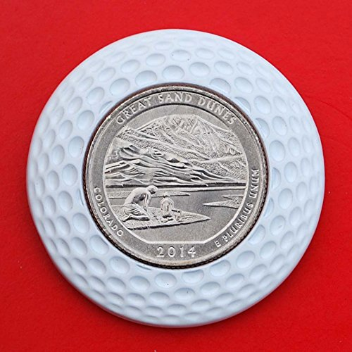 US 2014 Colorado Great Sand Dunes National Park Quarter BU Uncirculated Coin 3D Design 4 Leaf Clover Removable Golf Ball Marker Magnetic Poker Chip - America the Beautiful ()