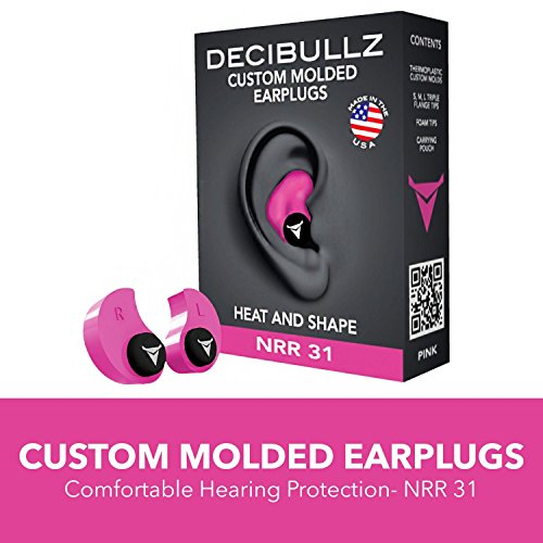 Decibullz Custom Molded Earplugs, 31dB Highest NRR, Comfortable Hearing Protection for Shooting, Travel, Swimming, Work and Concerts (Pink)