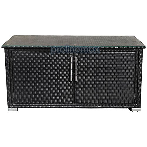 Outdoor Wicker Cabinet: 2 Doors Black Wicker Rattan Buffet Serving Cabinet Table