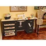 Norma Jean Wooden Sewing Table Desk Finish: Black