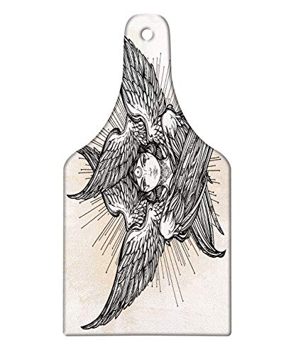 Lunarable Occult Cutting Board, Romantic Wing Angel Image with Fantasy Woman Eastern Mystical Theme, Decorative Tempered Glass Cutting and Serving Board, Wine Bottle Shape, Black Tan ()
