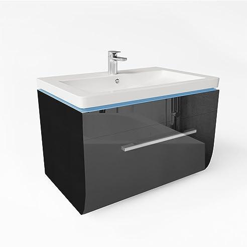LED Waschtisch 70cm Schwarz Hochglanz Waschbecken Badmöbel   Badezimmer    HÄFELE Gelenkscharnier  Vormontiert   Einfache