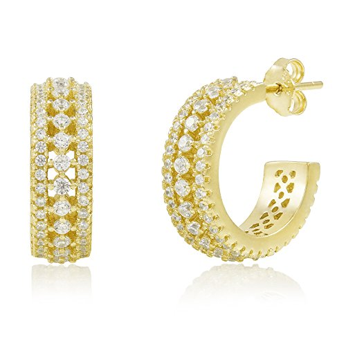 14k Yellow Gold Plated 925 Sterling Silver Cubic Zirconia Huggie Hoop Earrings - Medium -