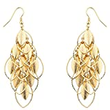 Lux Accessories Gold tone Petals Waterfall Earrings