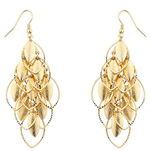 Lux Accessories Gold tone Petals Waterfall Earrings (Vintage Glamour Costumes)