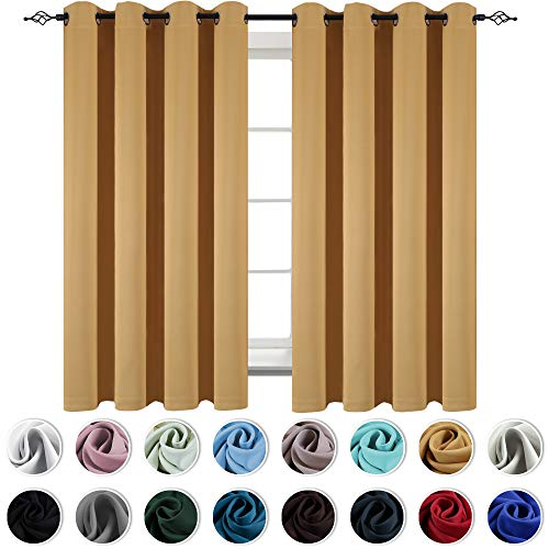 (KEQIAOSUOCAI 72 Inch Kids Room Curtains Yellow Grommet Top Room Darkening Blackout Drapes for Living Room 2 Panels 52 x 72 Inch Ochre)