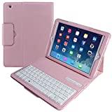 Eoso Keyboard Case for Apple iPad 2 3 4 Folding Leather Folio Cover with Removable Bluetooth Keyboard for iPad 2 3 4 Tablet (Pink)