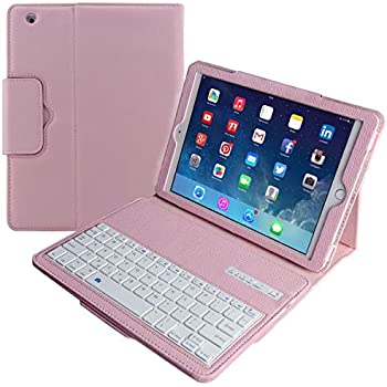 e9d1bd8e779 Eoso Keyboard Case for Apple iPad 2/3/4 Folding Leather Folio Cover with  Removable Bluetooth Keyboard for iPad 2/3/4 Tablet (Pink)