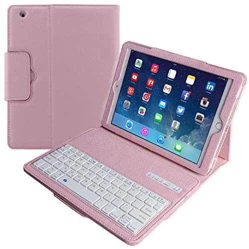 Eoso Keyboard Case for Apple iPad 2/3/4 Folding Leather Folio Cover with Removable Bluetooth Keyboard for iPad 2/3/4 Tablet (Pink)