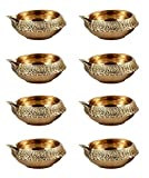 Hashcart Handmade (Set of 10) Indian Puja Brass Oil Lamp - Golden Diya Lamp Engraved Design Dia - 2.5 Inch