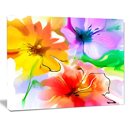 Designart PT14990-20-12 Bunch of Colorful Flowers Sketch Wall Art, Yellow, 20×12″
