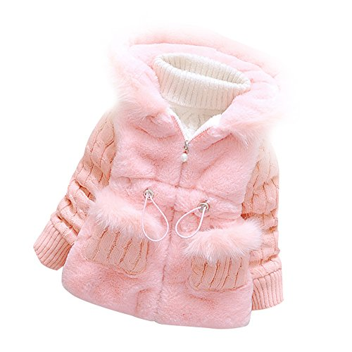 Baby Girls Infant Toddler Winter Knited Outerwear Coats Snowsuit Jackets(Pink,3-4years) Tag Size 12