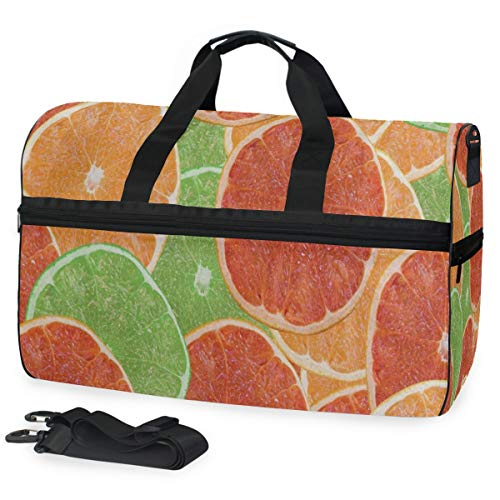 Gym Bag Orange Red Fruit Lemon Duffle Bag Large Sport Weekender Bag for Men Women
