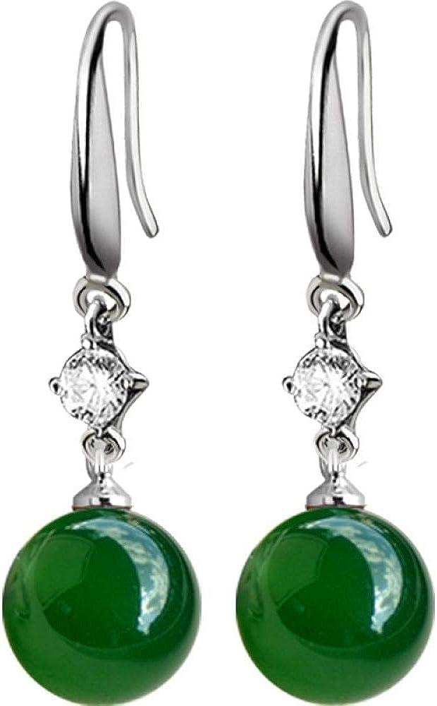 Pendientes de plata joyería verde esmeralda ágata verde natural calcedonia jade colgante de piedras preciosas pendientes de mujer