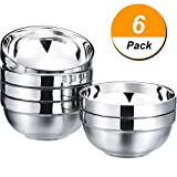 SATINIOR 6 Pack 13 OZ Stainless Steel Bowl Set Double-walled Insulated