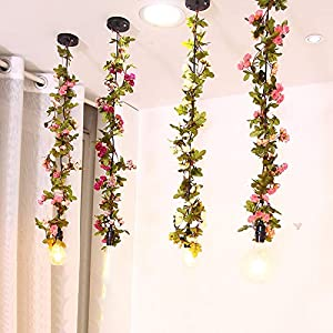 AceList 2M/ 6.6ft Mini 20 LEDs Green Artificial Rose Flower Leaf Garland Fake Ivy Vines String Lights for Mother's Day Christmas Party Year Wedding Garden Indoor Décor 4