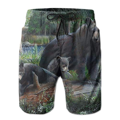 TARDIGA Marco Rustic Black Bear Men's Beach Shorts Swimming Trunks Quick Dry Boardshorts with Pockets (Kaufen Ray)