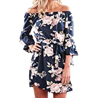 Vovotrade Womens Summer Off Shoulder Floral Short Mini Dress Ladies Beach Party Dresses