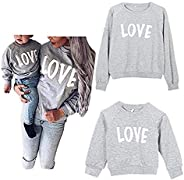 Mommy and Me Love Print Long Sleeve Pullover Tee Tops Family Matching Casual Sweatshirt T-Shirt Clothes Outfit