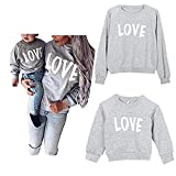 Mommy and Me Love Print Long Sleeve Pullover Tee