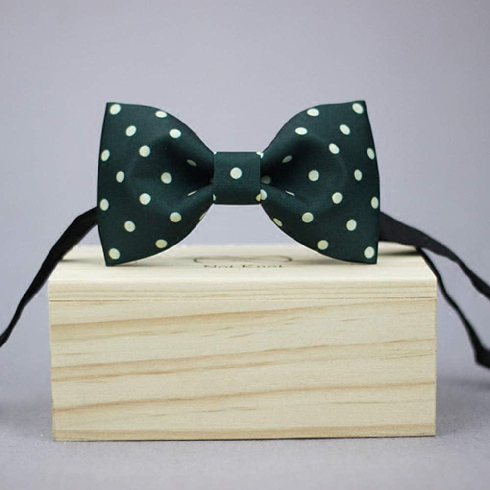 Fashion Mens Tie Classic Silk Green Dot Print Bow Tie Adjustable Necktie
