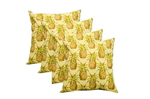 Resort Spa Home Set of 4 -Square Decorative Throw/Toss Pillows - Golden Yellow Green Tan Pineapple Grove Pattern (17
