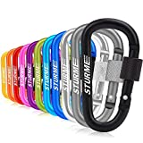 """STURME Carabiner Clip 3"""" Aluminum D-Ring Locking Durable Strong and Light Large Carabiners Clip Set for Outdoor Camping Screw Gate Lock Hooks Spring Link Improved Design Pack (Assorted 11 Pcs)"""