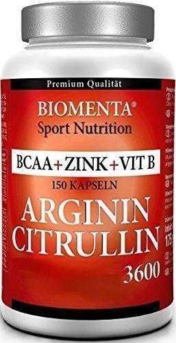 Biomenta® L-Arginin 3000 mg + L-Citrullin Malat 620 mg + BCAA 1000 mg + Zink 10 mg | 150 hochdosierte Kapseln deutscher Pharmaqualität | Unterstützt bei Muskelaufbau und Potenzsteigerung | 1 Monatskur