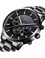 Relojes para Hombre Acero Inoxidable Impermeable Reloj Hombres Marca LIGE Cronógrafo Cuarzo Analógico Reloj Vestido Negocios Pulsera Plata Reloj Negro de Hombre