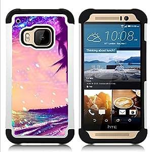 - stars glitter purple palms Miami tropics - - Doble capa caja de la armadura Defender FOR HTC ONE M9 RetroCandy