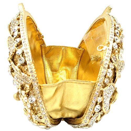 Amazon.com: Wedding Clutch Purse Evening Bags For Womens Chain Dress Handbag Rhinestones Flowers Gold: Clothing