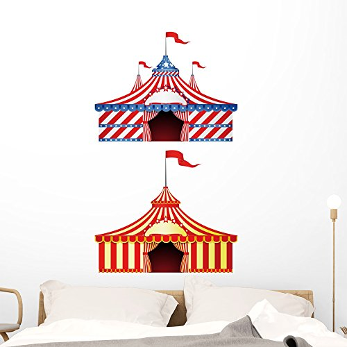 Wallmonkeys Big Top Circus Wall Decal Sticker Set Individual Peel and Stick Graphics on a (48 in H x 34 in W) Sticker Sheet WM26359