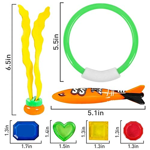 NUTY DESTY Dive Toys Diving Toys Underwater Swimming/ Pool Rings 19 Pack for Pool, Stringy Octopus with Under Water Treasures Gift Set, Ages 3 and by NUTY DESTY