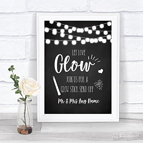 Chalk Style Black & White Lights Let Love Glow Glowstick Wedding Sign by The Card Zoo (Image #2)