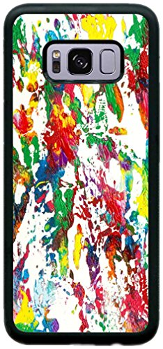 Price comparison product image Rikki Knight Acrylic Splash of Color Design Black Hard Rubber TPU Case for Galaxy S8 ONLY