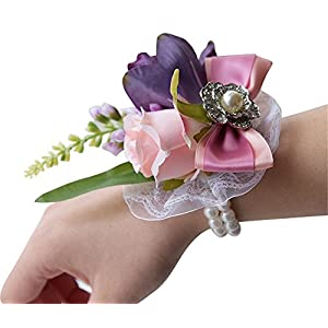 S_SSOY Hand Made Pretty Girl Bridesmaid Bridal Bride Wedding Wrist Rose Flower Party Prom Hand Flower Decor Pack of 4 25