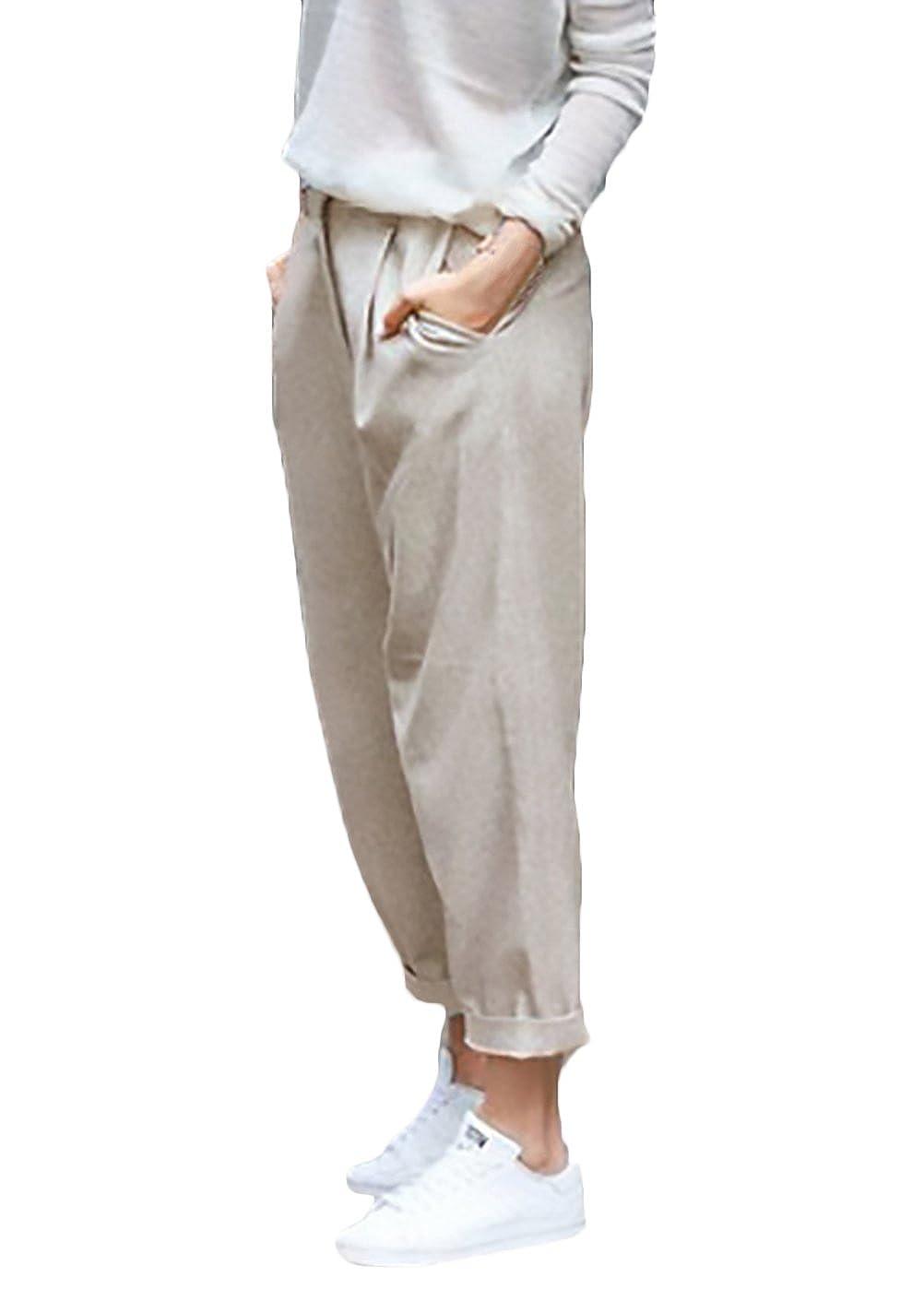 Pantaloni Donna Eleganti Moda Puro Colore Casual Taglie Forti Baggy Comode  Giovane Grazioso con Elastico in Vita Pantalone Lino Women  Amazon.it  ... c035bf1b23d