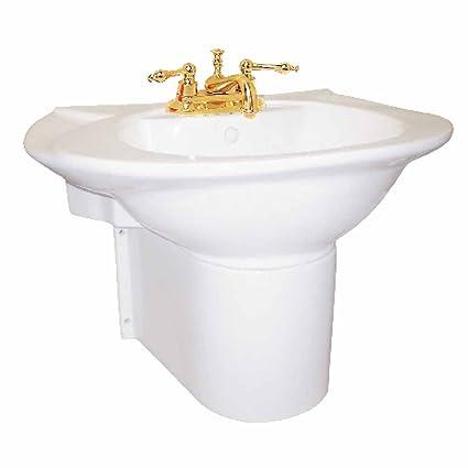 Small Wall Mount Bathroom Sink White China Half Pedestal Sink 4in Centerset