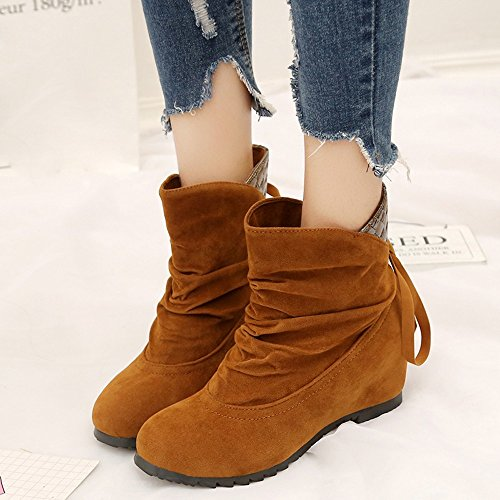 Low Boots Slip Women Wedges Fashion On Longra Shoes Brown Boots Casual Ankle Martin Flat I57ctqqw