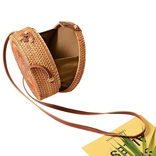 Haodene Summer Beach Sac pour les femmes de la jeune fille à la main ronde sac de paille tissée en rotin paille sac tressé Sac de pique-nique sac à bandoulière