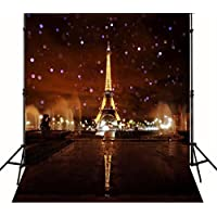 10ftx10ft Night Backdrops Shiny Lights Bokeh Photographic Background Paris Eiffel Tower Valentines Day Backdrops 211-J