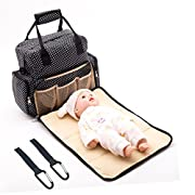 Diaper Bag Backpack Waterproof Baby Nappy Bag for Mom and Dad -Travel Backpack with Changing Pad & Stroller Straps by Seven colors (Black)