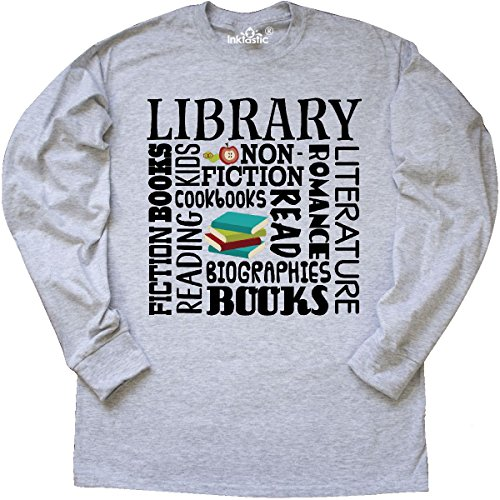 Inktastic - Library Books Reading Librarian Long Sleeve T-Shirt Large Ash Grey Librarian Ash Grey T-shirt