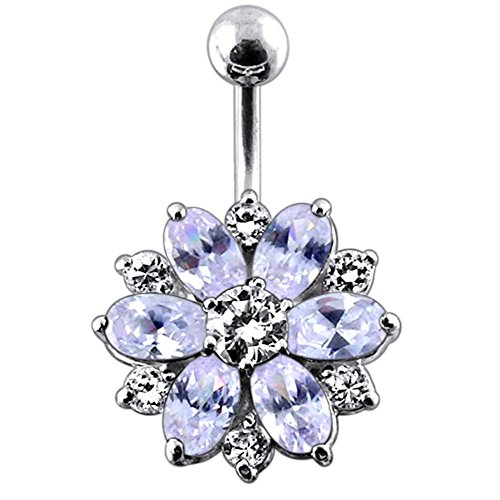 Flowers Sterling Silver Belly Button Ring (Lavender Crystal Stone Fantasy Double Layer Flower 925 Sterling Silver with Stainless Steel Belly Button Navel Rings)