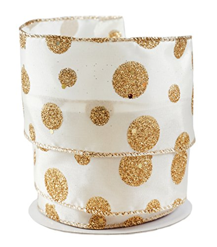 Glittered Gold Polka Dots on Ivory Satin Wired Ribbon #40-2.5