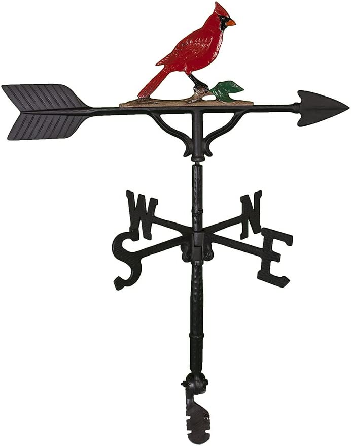Montague Metal Products 32-Inch Weathervane with Color Cardinal Ornament