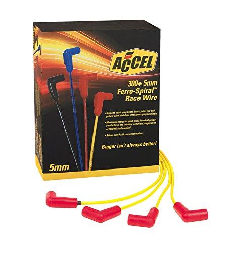 (ACCEL 7541Y 300 Plus Yellow Ferro-Spiral Race Spark Plug Wire Set)