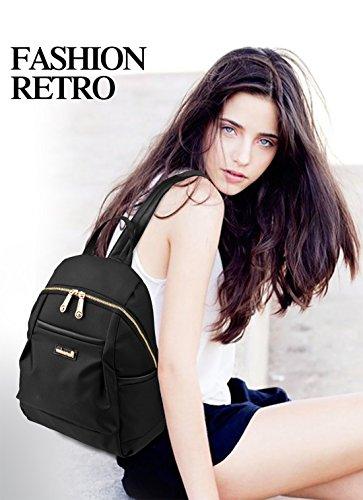 Nueva mochila del hombro de la muchacha Bolsas Escuela Oxford tela impermeable simple Versátil negro Nicole&Doris negro