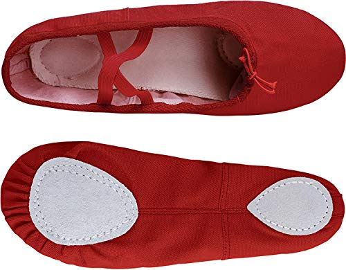 Ballet Dance RUN Girls' Shipper Shoe L Red Yoga Ballet Women's Canvas Shoes T6Cnwq0d